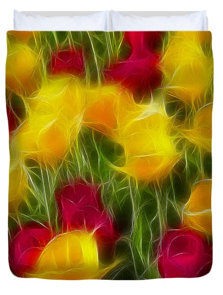 Tulips-7106-fractal Duvet Cover by Gary Gingrich Galleries