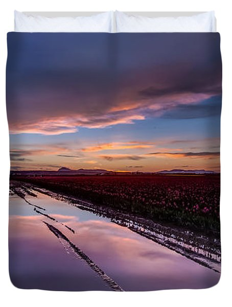 Tulips And Purple Skies Duvet Cover by Mike Reid
