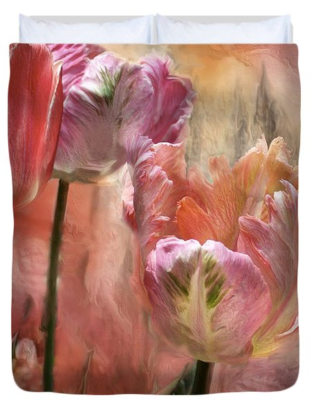 Tulips - Colors Of Love Duvet Cover by Carol Cavalaris