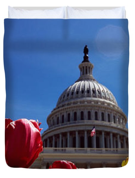 Tulips With A Government Building Duvet Cover by Panoramic Images