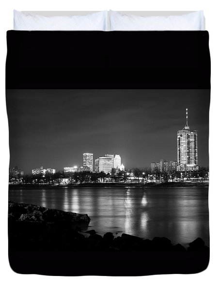 Tulsa In Black And White - University Tower View Duvet Cover by Gregory Ballos