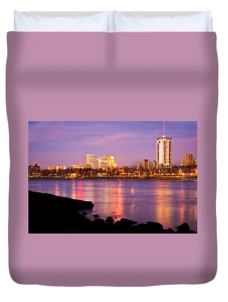 Tulsa Oklahoma - University Tower View Duvet Cover by Gregory Ballos