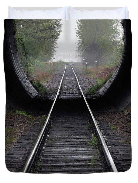 Tunnel Into The Mist Duvet Cover by Rod Wiens
