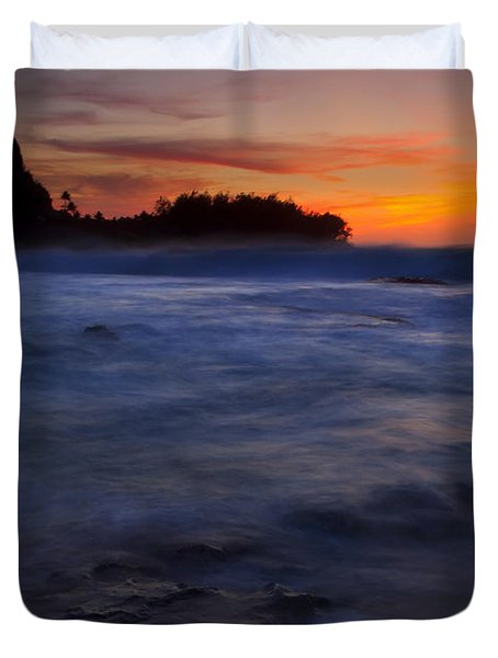 Tunnels Beach Dusk Duvet Cover by Mike  Dawson
