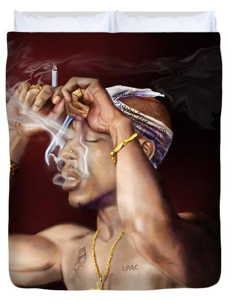 Tupac - Burning Lights Series  Duvet Cover by Reggie Duffie