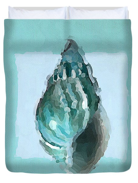 Turquoise Seashells V Duvet Cover by Lourry Legarde