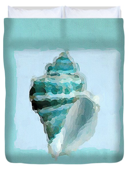 Turquoise Seashells Viii Duvet Cover by Lourry Legarde
