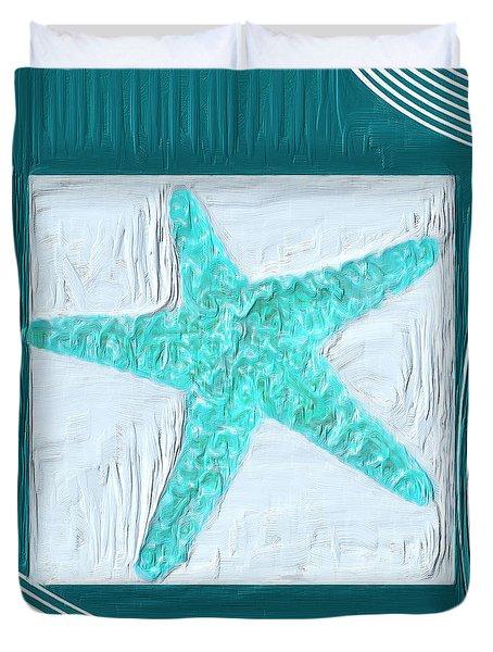 Turquoise Seashells XVI Duvet Cover by Lourry Legarde