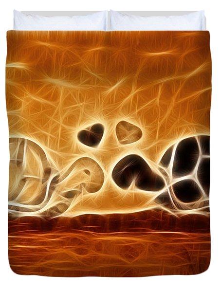Turtles Love Fractalius Duvet Cover by Georgeta Blanaru