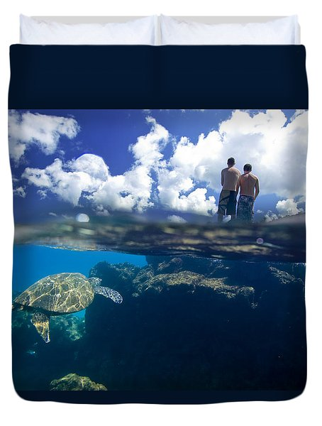 Turtles View Duvet Cover by Sean Davey