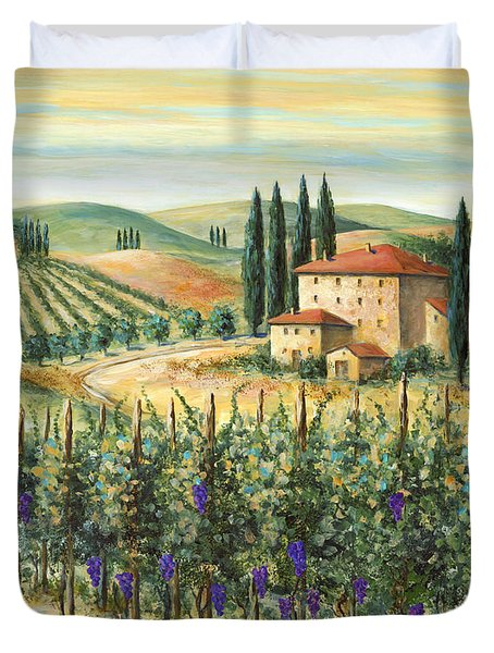 Tuscan Vineyard and Villa Duvet Cover by Marilyn Dunlap