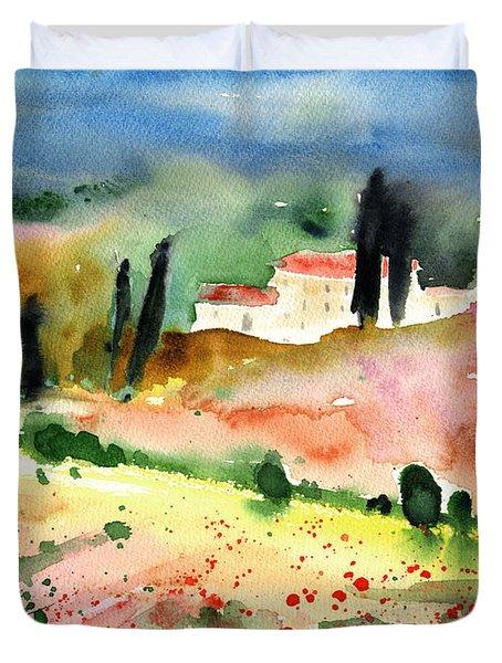 Tuscany Landscape 02 Duvet Cover by Miki De Goodaboom