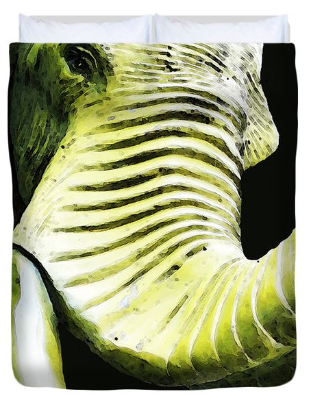 Tusk 1 - Dramatic Elephant Head Shot Art Duvet Cover by Sharon Cummings