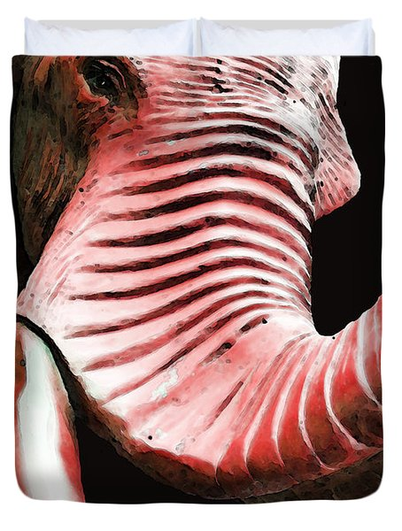 Tusk 4 - Red Elephant Art Duvet Cover by Sharon Cummings