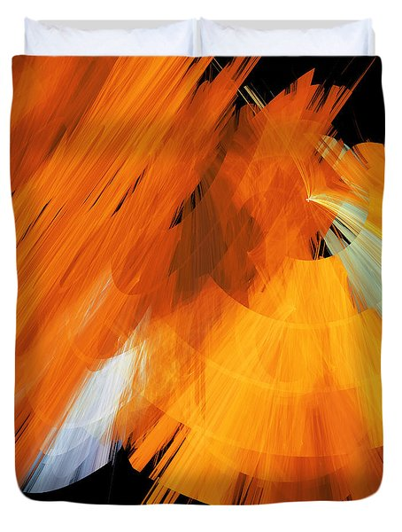 TuTu Stage Left Abstract Orange Duvet Cover by Andee Design