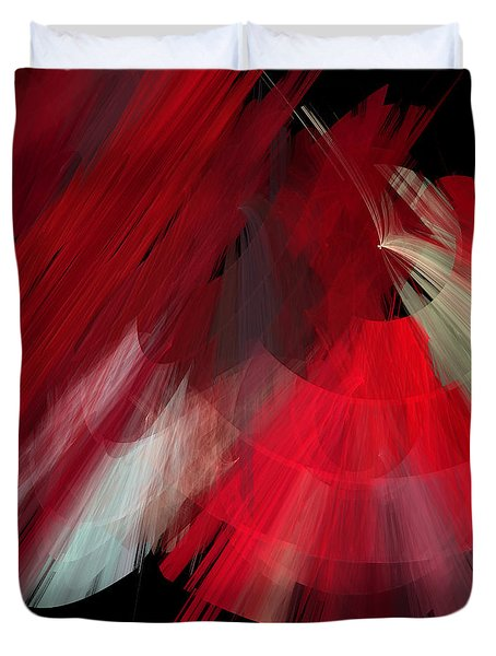 Tutu Stage Left Red Abstract Duvet Cover by Andee Design
