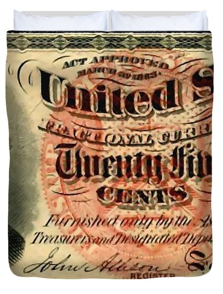 Twenty Five Cent 4th Issue U.s. Fractional Currency Fr 1302 Duvet Cover by Lanjee Chee