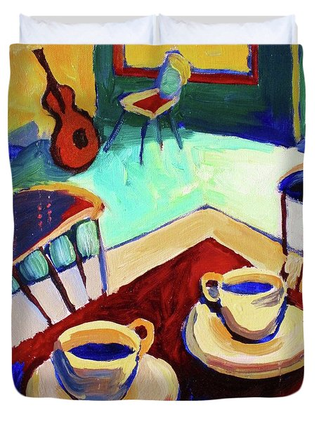 Twilight Coffee Cafe Duvet Cover by Frederick  Luff