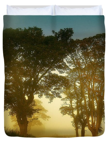 Twilight Guardians. Misty Roads Of Scotland Duvet Cover by Jenny Rainbow