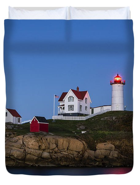 Twilight Nubble Lighthouse Duvet Cover by John Greim