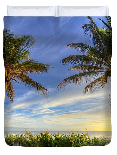 Twin Palms Duvet Cover by Debra and Dave Vanderlaan