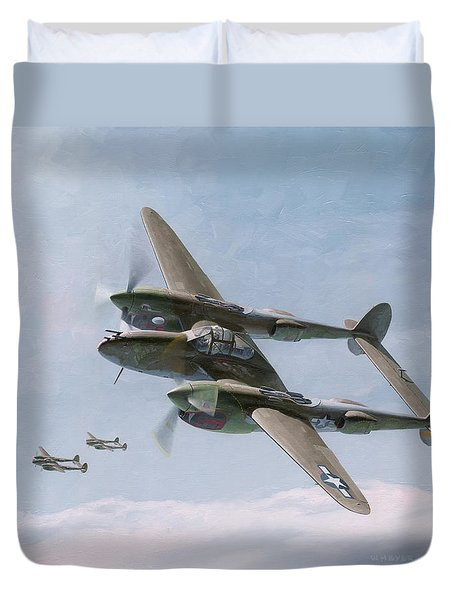 Twin-tailed Dragons Duvet Cover by Wade Meyers