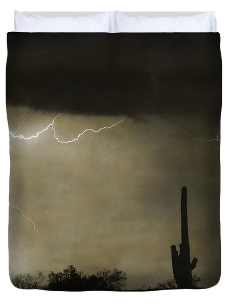 Twisted Desert Lightning Storm Duvet Cover by James BO  Insogna