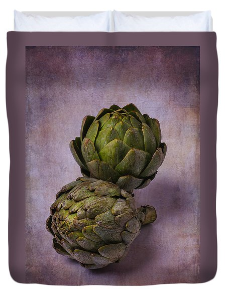 Two Artichokes Duvet Cover by Garry Gay
