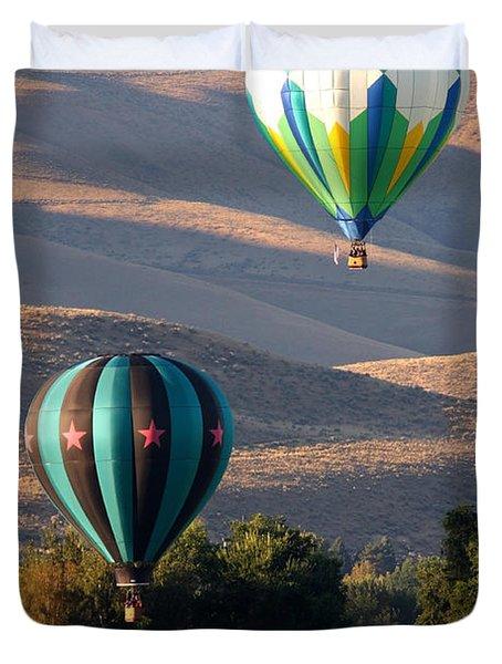 Two Balloons In Morning Sunshine Duvet Cover by Carol Groenen