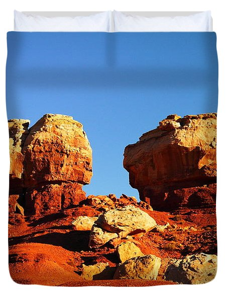 Two Big Rocks At Capital Reef Duvet Cover by Jeff Swan