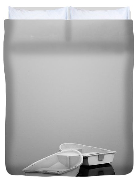 Two Boats and Fog Duvet Cover by David Gordon