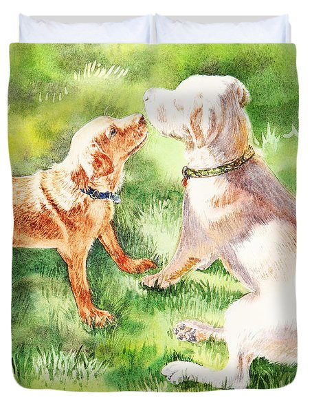 Two Brothers Labradors Duvet Cover by Irina Sztukowski