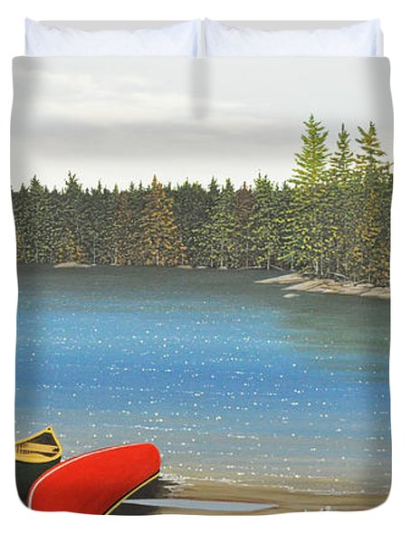 Two Canoes Duvet Cover by Kenneth M  Kirsch