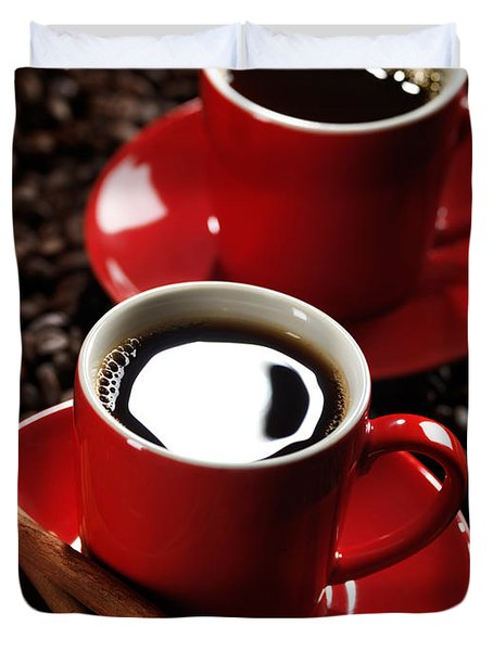 Two Cups Of Coffe On Coffee Beans Duvet Cover by Oleksiy Maksymenko