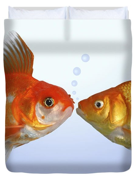 Two Fish Kissing Fs502 Duvet Cover by Greg Cuddiford