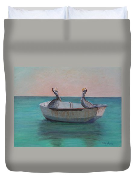 Two Friends In A Dinghy Duvet Cover by Patty Weeks