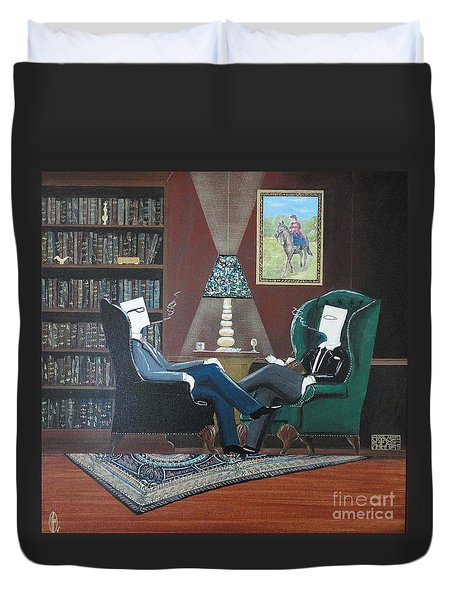 Two Gentlemen Sitting In Wingback Chairs At Private Club Duvet Cover by John Lyes