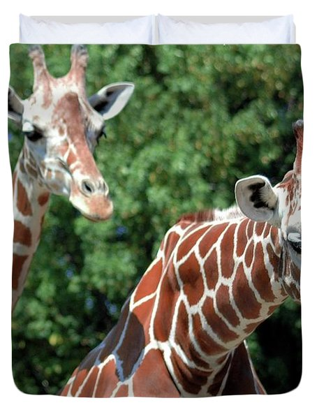 Two Giraffes Duvet Cover by Kathleen Struckle