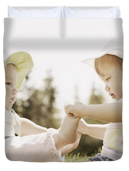 Two Girls Sit Together Duvet Cover by Don Hammond