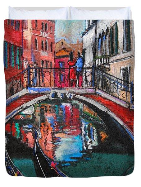 Two Gondolas In Venice Duvet Cover by Mona Edulesco
