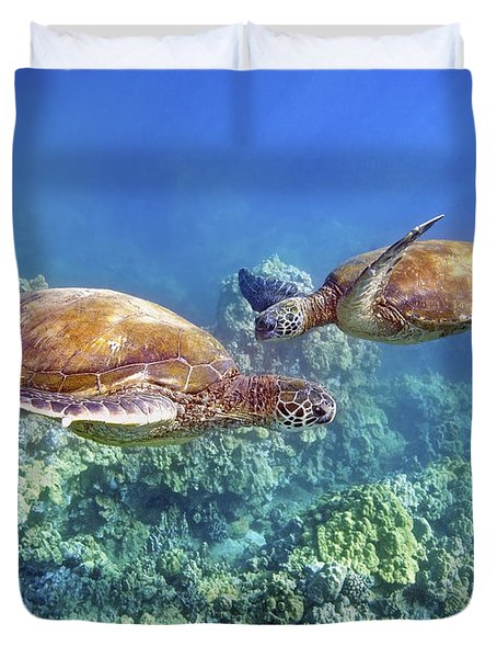 Two Green Turtles Duvet Cover by M Swiet Productions