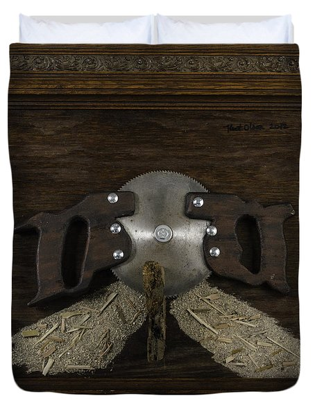 Two Handled Saw Blade Duvet Cover by Kurt Olson
