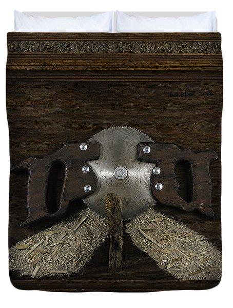 Two Handled Saw Blade Duvet Cover by Kurt Olson