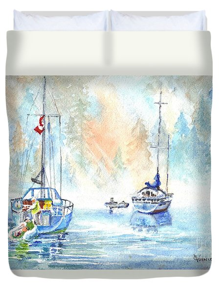 Two In The Early Morning Mist Duvet Cover by Carol Wisniewski