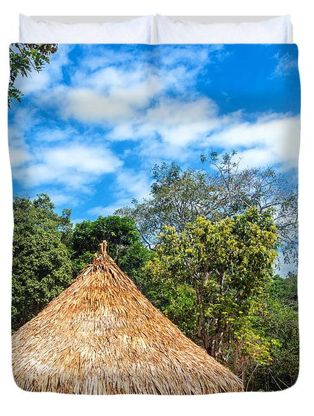 Two Indigenous Huts Duvet Cover by Jess Kraft