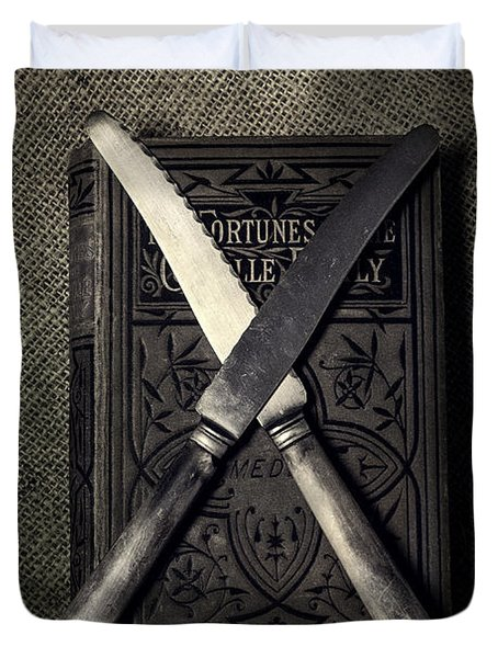 Two Knives And A Book Duvet Cover by Joana Kruse