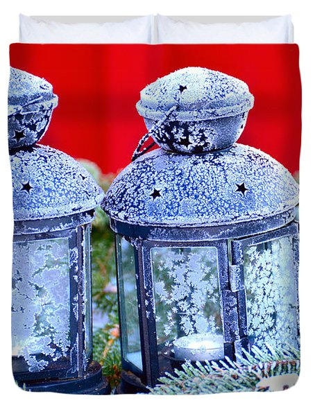 Two Lanterns Frozty Duvet Cover by Toppart Sweden