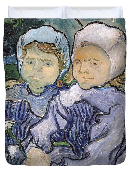 Two Little Girls Duvet Cover by Vincent Van Gogh