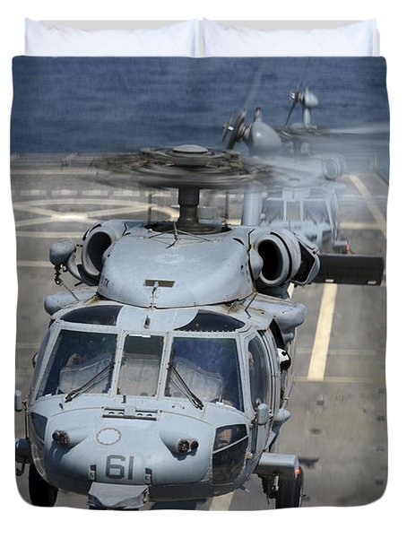 Two Mh-60s Sea Hawk Helicopters Take Duvet Cover by Stocktrek Images