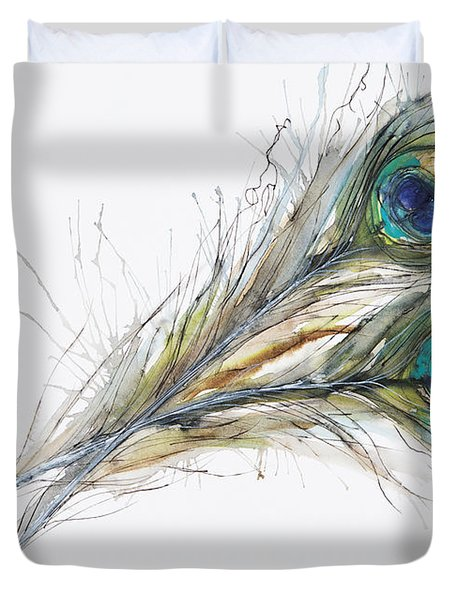 Two Peacock Feathers Duvet Cover by Tara Thelen
